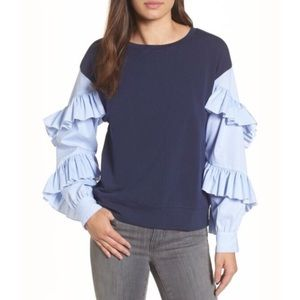 Halogen Striped Ruffle Poplin Sleeve Sweatshirt XS